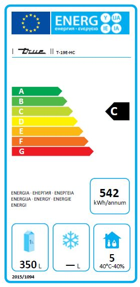 T-19E-HC (CC222) 538 Ltr Hydrocarbon Single Door Upright Fridge Energy Rating