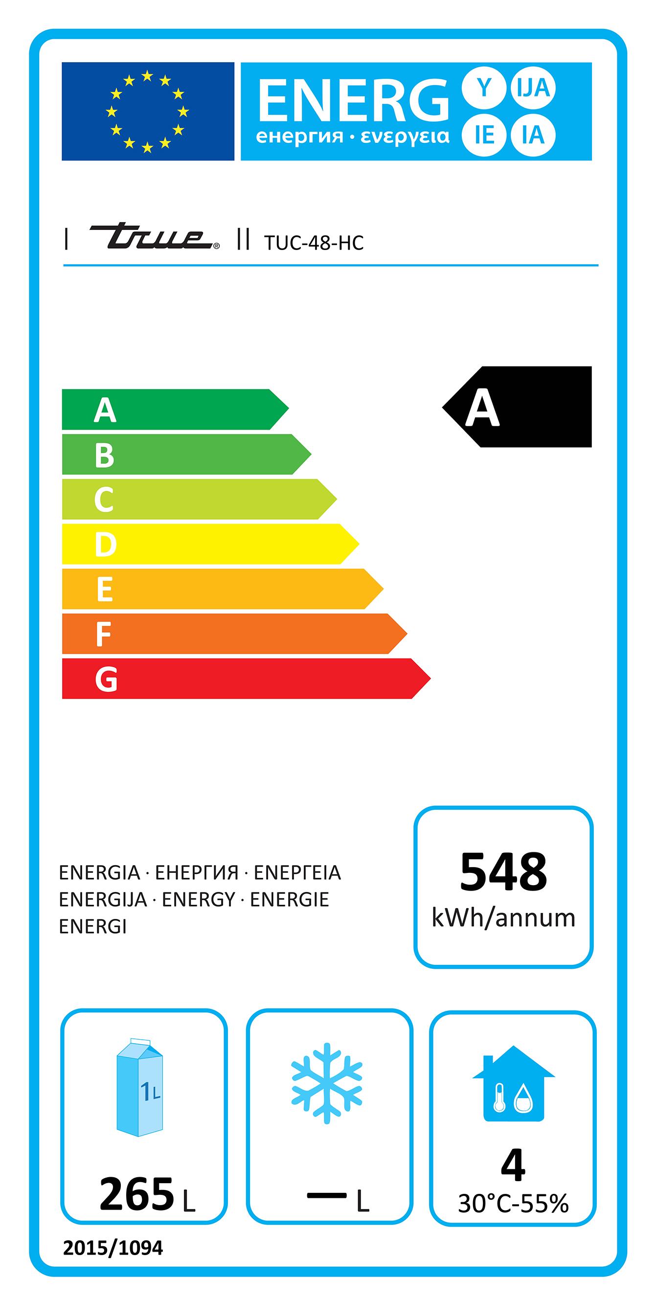 TUC-48-HC 340 Ltr Hydrocarbon Undercounter Fridge Energy Rating