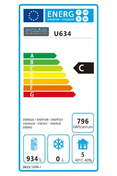 U634 1300 Ltr Upright Double Door Fridge Energy Rating
