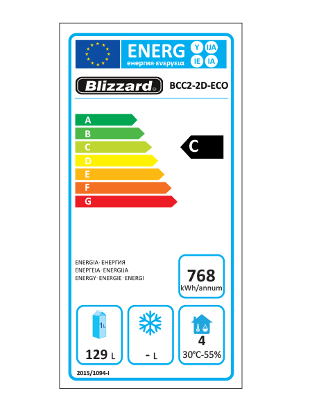 BCC2-2D-ECO 214 Ltr Refrigerated Prep Counter Energy Rating