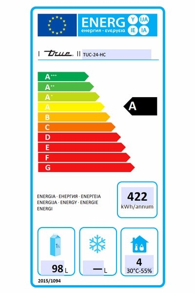 TUC-24-HC 158 Ltr Hydrocarbon Undercounter Fridge - CC665 Energy Rating