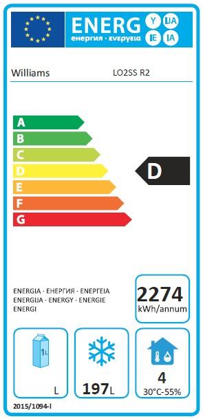 Opal LO2US3 374 Ltr 2 Door Freezer Counter - G454 Energy Rating