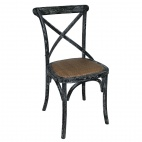 GG654 Black Wooden Dining Chairs with Backrest (Pack of 2)