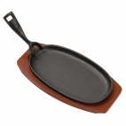 F464 Cast Iron Oval Sizzler with Wooden Stand