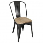 GG707 Black Steel Dining Sidechairs with Wooden Seatpad (Pack of 4)
