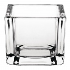 Glass Tealight Holder Square Clear