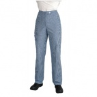 B100-28 Ladies Chef Trousers - Blue and White Check