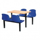 Four Seater Side Access Canteen Unit Beech and Blue