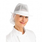A653-L Trilby Hat with Snood - White