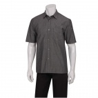 Urban Detroit Striped Short Sleeve Denim Shirt Black L