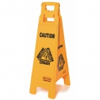 Multilingual 4 Sided Wet Floor Safety Sign
