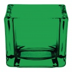 Glass Tealight Holder Square Green