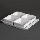 U817 Whiteware Snack Dish with Plate (4 Section)
