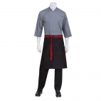 Wide Half Bistro Apron with Red Contrast Ties - B558