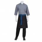 Wide Half Bistro Apron with Blue Contrast Ties