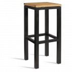 Black High Stool with Wooden Seat Pad (Pack of 2)