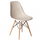 GG916 Beige Polypropylene Chairs with Wooden Legs (Pack of 2)
