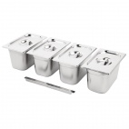 Stainless Steel Gastronorm Set 4 1/4 with Lids
