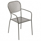 GG671 Grey Steel Patterned Bistro Armchairs (Pack of 4)