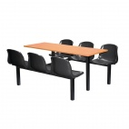 Six Seater Dual Access Canteen Unit Beech and Black