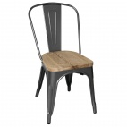 GG708 Grey Steel Dining Sidechairs with Wooden Seatpad (Pack of 4)