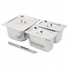 Stainless Steel Gastronorm Set  1/2 and 2x 1/4 with Lids