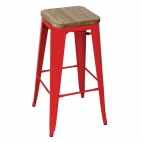Red Steel Bistro High Stools with Wooden Seatpad (Pack of 4)