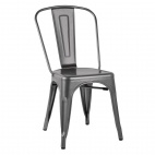 GL329 Bistro Side Chairs Steel Metal Grey (Pack of 4)