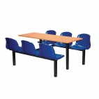 Six Seater Dual Access Canteen Unit Beech and Blue - DM412