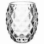 Glass Diamond Tealight Holder Clear 75mm