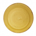 Churchill Stonecast Round Coupe Plates Mustard Seed Yellow 220mm