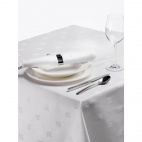 CE492 Damask Ivy Leaf White Tablecloth