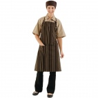 A973 Adjustable Bib Apron - Choc and Cream