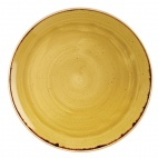 Churchill Stonecast Round Coupe Plates Mustard Seed Yellow 288mm