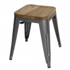 Grey Steel Bistro Low Stools with Wooden Seatpad (Pack of 4)