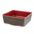 Plus Melamine Square Bowl Oak and Red 1.5 Ltr