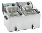 FD 80DR Twin Tank 2 x 8 Ltr Counter Top Deep Fat Fryer with Drain Tap
