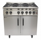 "GB6 Natural Gas 6 Burner Oven with Half Price Splashback / Plate Shelf & 3/4"" 1000mm Gas Hose"