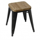 Black Steel Bistro Low Stools with Wooden Seatpad (Pack of 4)