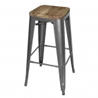 Grey Steel Bistro High Stools with Wooden Seatpad (Pack of 4)