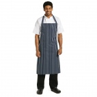 A662 Butchers Bib Apron XL - Navy Stripe