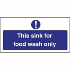 L961 Food Wash Only Sign