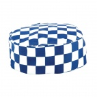 A164 Chefs Skull Cap - Big Blue and White Check