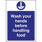 W110 Wash hands Before Handling Food Sign