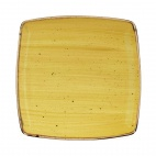 Churchill Stonecast Deep Square Plates Mustard Seed Yellow mm