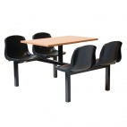 Four Seater Dual Access Canteen Unit Beech and Black - DM415