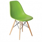 GG918 Green Polypropylene Chairs with Wooden Legs (Pack of 2)