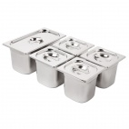 Stainless Steel Gastronorm  Set  1/3 and 4 x 1/6 with Lids