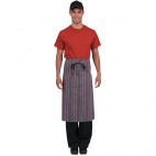 B108 Chef Works Bistro Apron - Grey/Charcol/Red Stripe