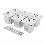 Stainless Steel Gastronorm Pan Set  6 x 1/6 with Lids